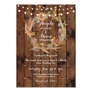 Wedding Wood Fall in Love Wreath Party Invitation