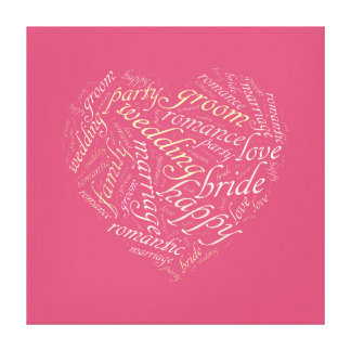 Wedding word cloud stretched canvas print