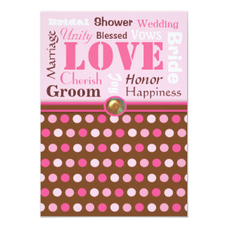 Wedding Words of Love Pink and Brown Bridal Shower 13 Cm X 18 Cm Invitation Card