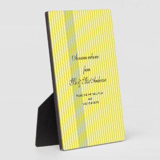 Wedding Yellow Stripes Plaque