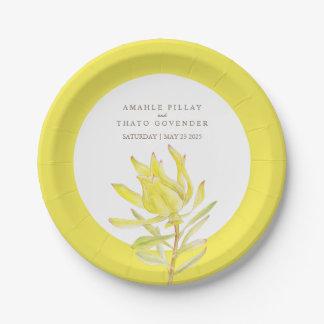 Wedding yellow tulip custom paper plate
