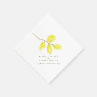 Wedding yellow willow catkins paper napkins