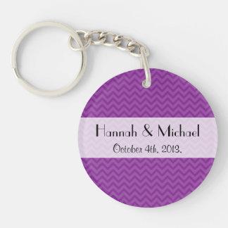 Wedding - Zigzag Pattern, Chevron Pattern - Purple Key Ring