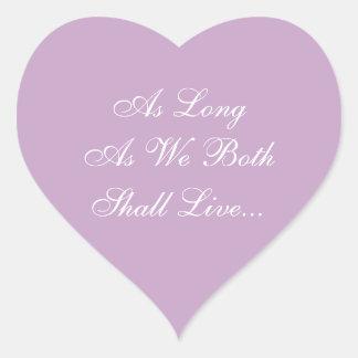 Weddings Invites Lilac Heart Sticker