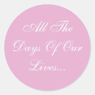 Weddings Invites Pink Pearl Classic Round Sticker