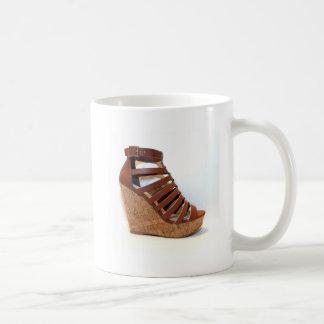 Wedge Heel Classic Brown Basic White Mug