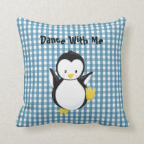 Wedgewood Blue Gingham Pattern•Penguin•Custom Cushion