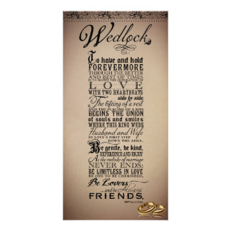 Wedlock Marriage Wedding Original Poem Card