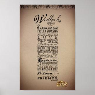 Wedlock Marriage Wedding Original Poem Poster