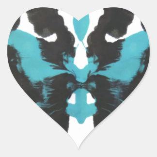 Wednesday Blue Inkblot Design Heart Sticker
