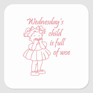 Wednesday's Child Square Stickers
