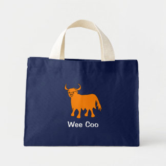 """Wee Coo"" Scottish Highland Cow tote bag design"