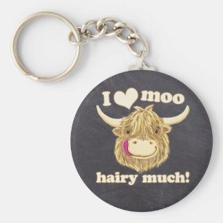 Wee Hamish Loves Moo Hairy Much! Highland Cow Key Ring