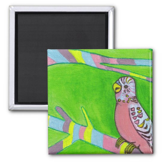 wee pink budgie square magnet
