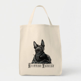Wee Scottish Terrier Grocery Tote Bag