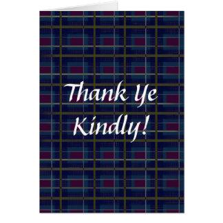"Wee Scottish Thank You on Blue Tartan ""Thank Ye"" Card"