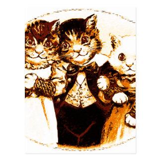 Wee Three Cats Postcard