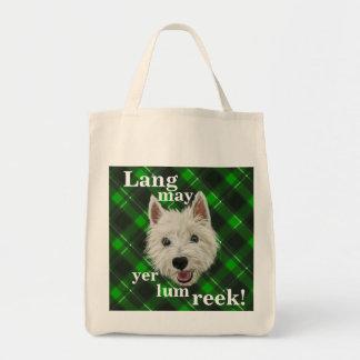 Wee Westie. Lang May Yer Lum Reek! Grocery Tote Bag