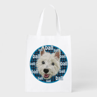 Wee Westie wants a ball! Market Totes