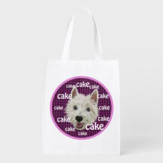 Wee Westie wants cake Grocery Bags