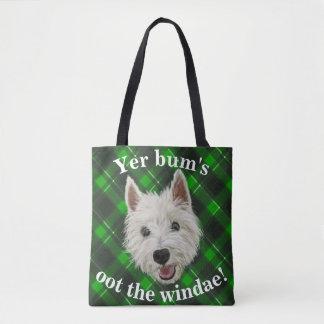 Wee Westie. Yer Bum's Oot The Windae! Tote Bag