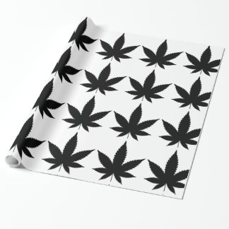Weed Leaf Silhouette Wrapping Paper