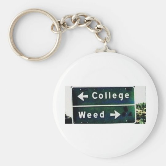 Weed or basic round button key ring