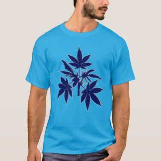 Weed Tree Buds Blue-Drawing T-Shirt-2 T-Shirt