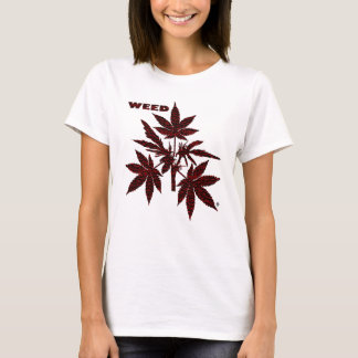 Weed Tree Buds Red-Drawing T-Shirt-1 T-Shirt