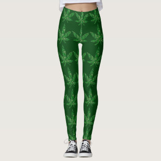 Weed Typography Word Cloud Leggings