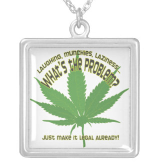 Weed... what's the problem? square pendant necklace