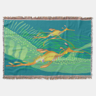 Weedy Sea Dragon and Seagrass Throw Blanket