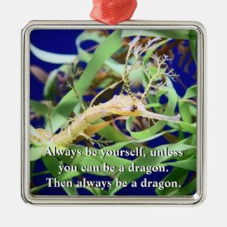 Weedy Sea Dragon Silver-Colored Square Decoration