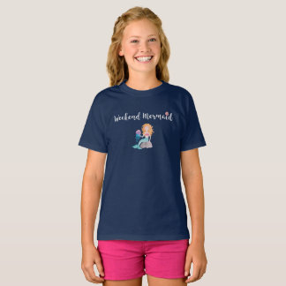 Weekend Mermaid Seashell Watercolor Graphic Lt T-Shirt