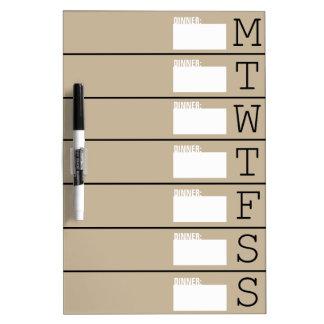 Weekly Calendar Dinner Menu - Dry Erase Board