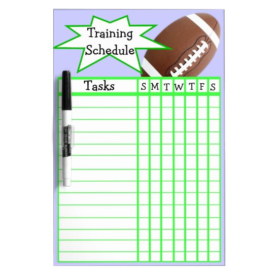 Weekly football training schedule dry erase board