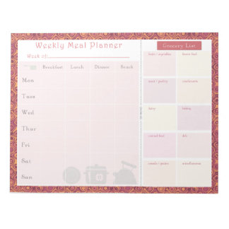 Weekly Meal Planner Autumn Memo Note Pads