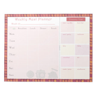 Weekly Meal Planner Autumn Overlap Notepad