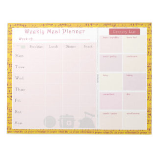 Weekly Meal Planner Summer Music Notepad