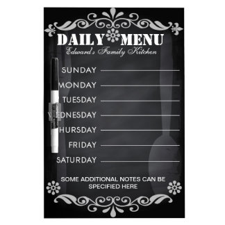 Weekly Menu Blackboard for Kitchen