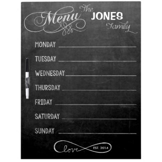 Weekly Menu Blackboard for Kitchen (Dry Erase) Dry-Erase Whiteboard