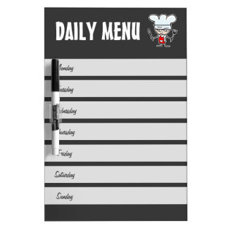 Weekly menu calendar dry erase board | Meal plan