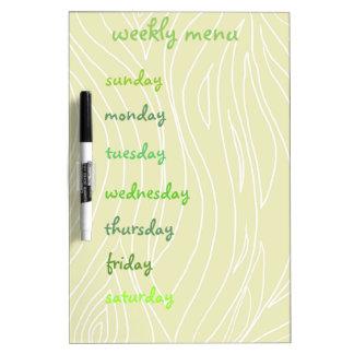 Weekly Menu Dry Erase Board