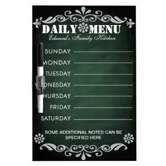 Weekly Menu Green Chalkboard for Kitchen Dry Erase Board
