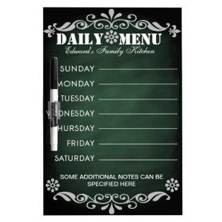 Weekly Menu Green Chalkboard for Kitchen Dry Erase Boards