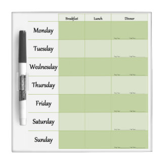 Weekly Menu Planner Dry Erase Board