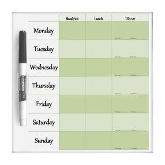 Weekly Menu Planner Dry Erase Whiteboards