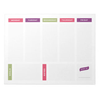 Weekly Planner - Bright and Simple Notepad