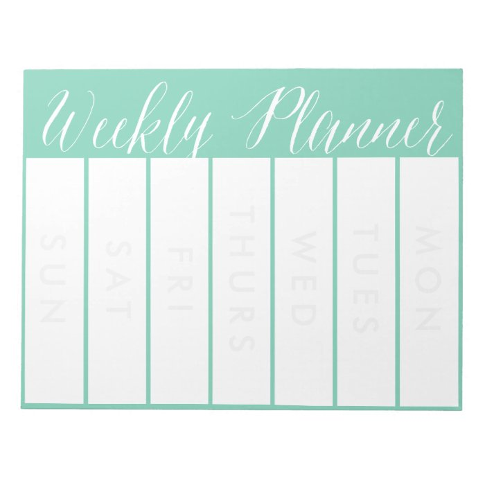 Weekly Planner Custom Colour Note pad Calendar | Zazzle