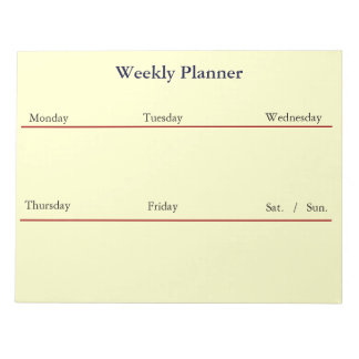 Weekly Planner Notepad (White)